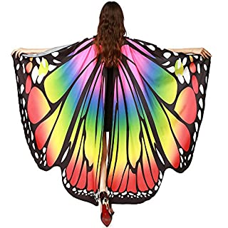 Anglewolf Women Butterfly Wings Shawl Scarves Ladies Nymph Pixie Poncho Costume Accessory Child Kids Boys Girls Bohemian New Look Cute Fairy Dresses Capes Stoles Party Show for Girl(Multicolor)