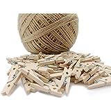 60 mini pinzas de madera + cuerda de 100 m, para decoración de pared de fotos, decoración de bricolaje, mini pinzas de ropa d