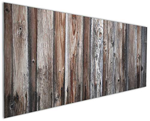 Wallario Küchenrückwand aus Glas, in Premium Qualität, Motiv: Alte Holzwand - Holzplanken in grau und braun | Spritzschutz | abwischbar | pflegeleicht