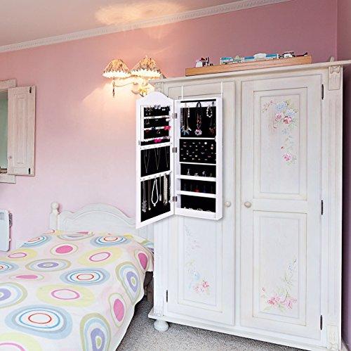 Ezigoo Schmuckschrank Spiegel – Türmontage/Wandmontage 96 x 35 x 8,7 cm – Weißer Schmuck Spiegel mit viel Stauraum - 6