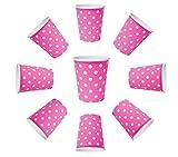 BlueBD 100X tazza 230ML Dots Pink Rosa, Violet punti, bicchieri di carta, tazza di USA e getta per bevande Snacks bevande calde e fredde