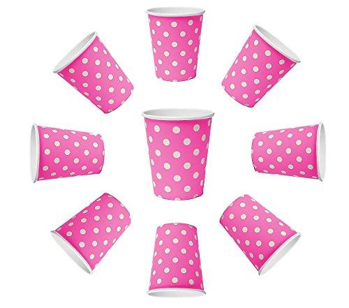 ts Pink Rosa, weiße Punkte, Pappbecher, Einwegbecher für Getränke Snacks Heiß- und Kaltgetränke ()