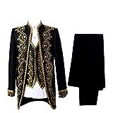 Prince Hommes Déguisements médiéval Renaissance Cosplay Costume adulte (noir, Taille asiatique XXL)