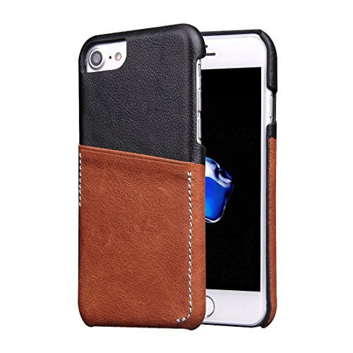 Hülle für iPhone 7 plus , Schutzhülle Für iPhone 7 Plus echtes Rindslederfarben-zusammenpassende rückseitige Abdeckungs-Fall mit Einbauschlitz ,hülle für iPhone 7 plus , case for iphone 7 plus ( Color Brown
