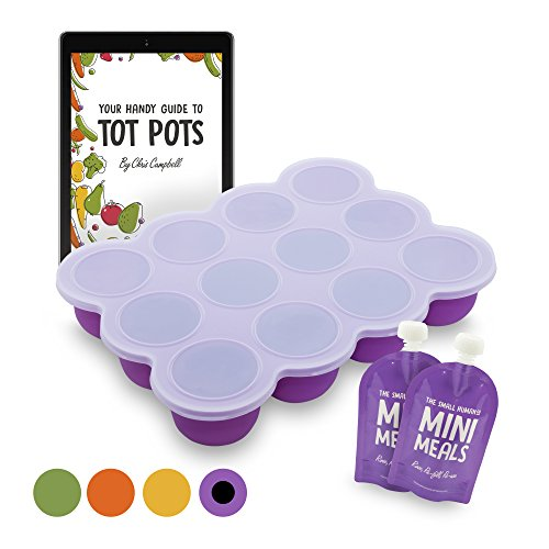 The Small Human Company Tot Pots Food Freezing Cube Tray with Lid, Purple