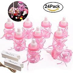 Idea Regalo - Gudotra 125 packs 24pz Caramella Biberon Bottiglia Rosa con 100pz Carta di Ringraziamento e 10 Metri corda per Battesimo Nascita Comunione Compleanno