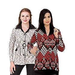 Kritika World Womens Wool Cardigan Dress (COAT_VELVET_BLACK_COAT2_RED_Black Red_Medium)
