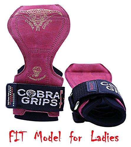Grip Power Pads Cobra Grips V2Gewichtheber-Handschuhe, Robust, Zughilfen für Kreuzheben, Fit Red Leather