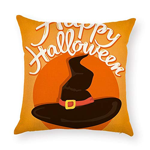 DHNKW Halloween Cushion Covers Jack-O'-Lantern Pumpkin Yellow Orange Black Painting Thick Polyester Double-Sided Throw Pillow Cases for Home Sofa Bed Decorative(18