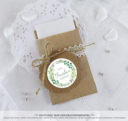 SET GROß: 48 Freudentränen Sticker + 48 braune Flachbeutel - Kraftpapier - 63 x 93 mm für Freudentränen Taschentuch Verpackungen • Aufkleber in GRÜN WEIß mit Zweigen • 4cm, matt
