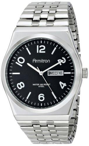 armitron-homme-20-4967bksv-black-dial-silver-tone-expansion-bracelet-montre