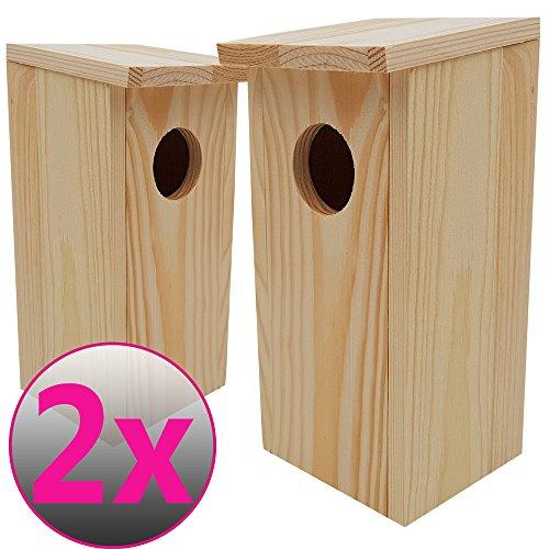 PROHEIM Nistkasten Compact 2er Pack 22 x 9 x 10 cm aus FSC Holz Nisthaus perfekt für Meisen Kohlmeisen Kleiber Rotschwänzchen und weitere Vogelarten Vogelnistkasten