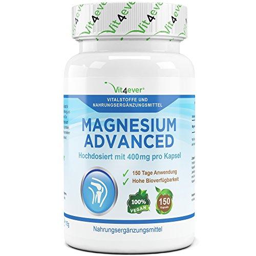 Magnesium Advanced 150 Kapseln, Hochdosiert mit 400 mg reinem Magnesium pro Kapsel, 5 Monatsversorgung, täglich nur 1 Kapsel, 100% Vegan Vit4ever