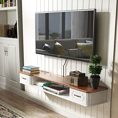 LBYMYB TV-Rack-Regal Media Entertainment Konsole Spielregal mit schwebenden 2 Schubladenmöbeln Regal (Color : White+Brown, Size : 110cm) - Entertainment-konsole