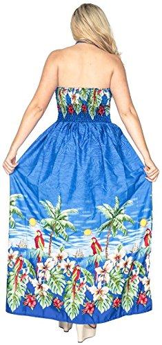 La Leela Bademode verschleiern Frauen weichen likre Schlitz maxi Halfter lange Schlauchkleid Ausschnitt aloha blau