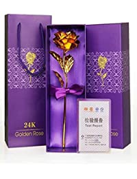 24K Certified Gold Finish Rose 10 Inches With Attractive Gift Box And Carry Bag By Lavanaya Silver
