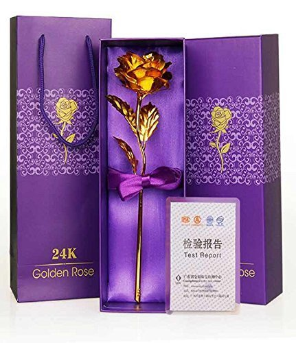 Msa Jewels 24K Certified Gold Finish Rose 10 Inches With Attractive Gift Box And Carry Bag