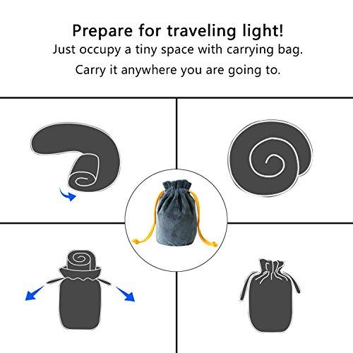 Aufblasbar Reisekissen, CrazyFire Tragbare Aufblasbares U-förmiges Nackenkissen, Reisekissen Kissenautomatisch Bequem für bequemen Schlaf im Flugzeug, Auto oder Zug mit Schlafbrille und Ohrenstöpsel - 4