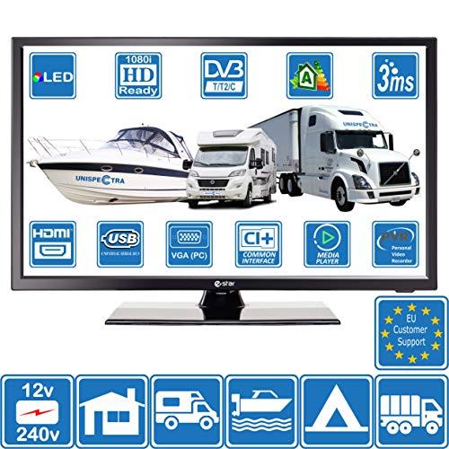 Camping Car Caravane Bateau 12 Volt 24 Pouces 61cm LED HD Téléviseur Numérique DVB-T2/C TNT HD TV 12V 240V USB PVR Lecteur Multimedia vga & HDMI Moniteur PC (for EU)