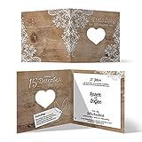 20 x Lasergeschnittene Hochzeitseinladungen silberne Hochzeit Silberhochzeit Einladungen individuell - Rustikal mit weißer Spitze