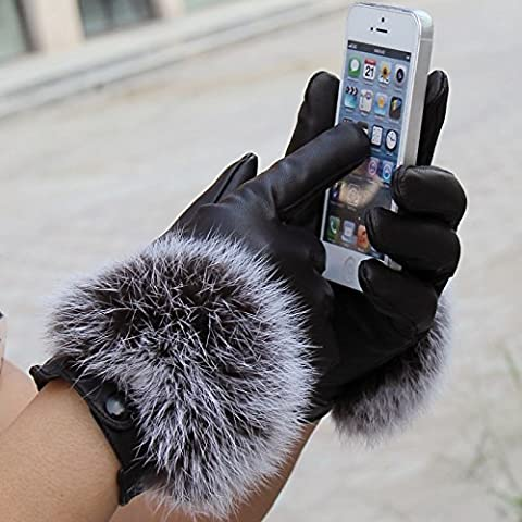 JQAM Pelliccia di coniglio donne autunno inverno Leisure Touchscreen a maglia PU Leather Guanti Guida (Scopo Esterno Raso)