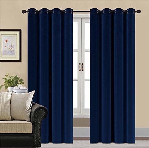 HCILY velvet vorhänge thermal insulated für schlafzimmer 2 panels w52 '' x l96 '' blau - Velvet Schlafzimmer