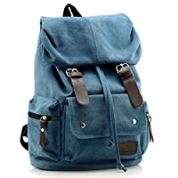 TININNA Women Ladies Vintage Canvas Backpack Satchel Rucksack Daypack Shoulder School Bag Schoolbag Blue