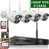 【2019 Nuevo】Kit de Cámara Inalámbrica de Seguridad, Sistema de Vídeo Vigilancia, NVR1080P HDMI Inalámbrico WLAN, 4 720P IP Cámara de Seguridad de Detección de Movimiento/Acceso Remoto Móvil, 1TB HDD