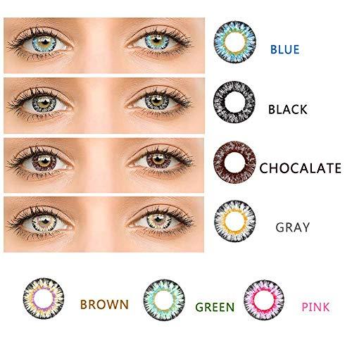 bulrusely Make-up-Zubehör für Mädchen, EIN Jahr, ändert die Augenfarbe natürlich, Cosplay, Halloween-Party, etc. 1 Paar (Funktion ohne Korrektur, 0 Grad) Rosa
