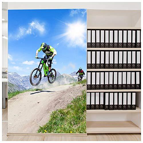 azutura Mountainbike-Rennen Fototapete Extremsportarten Tapete Jungen Schlafzimmer Dekor Erhältlich in 8 Größen Riesig Digital