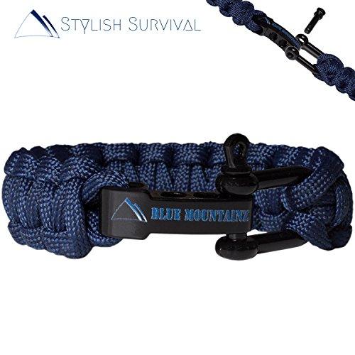 Blue Mountainz [ORIGINAL] Survival Armband Navy Blue | Tutorial | Gratis Outdoor Survival Guide | Verschluss verstellbar | Fallschirm-Leine | Überlebens-Ausrüstung | Deutscher Händler