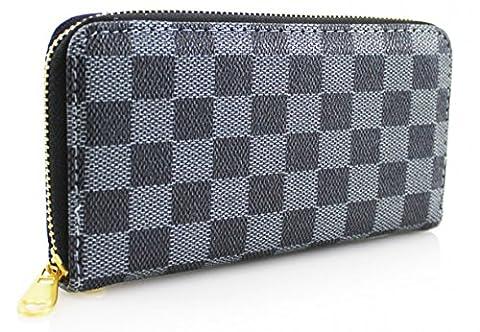 H&G Ladies Checked Double Zip Around Purse \ Wallet - Black