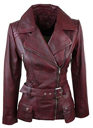 Trench Damenjacke Echtleder Grün Schwarz Rot Braun Mittlere Länge Lässig (Rot Leder Jacken Für Frauen)