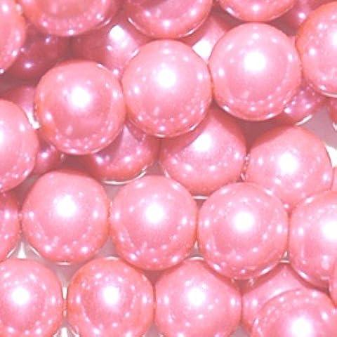 100pezzi 6mm perline in vetro–a0962, colore: fucsia