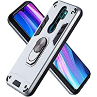 FAWUMAN Funda para Xiaomi Redmi Note8 Pro Soft TPU + Duro PC Doble Parachoques Cubierta a Anillo Soporte con Soporte y Carcasa Desmontable, Funda Protectora Serie Armadura (Plata)