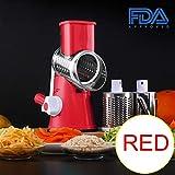 Multifunktions-Slicer Vegetarisches Essen Gemüseschneider Gemahlen In Pulver 430 Edelstahl Schneidemaschine Leicht Zu Reinigen 3 In 1 Küchengerät,Red