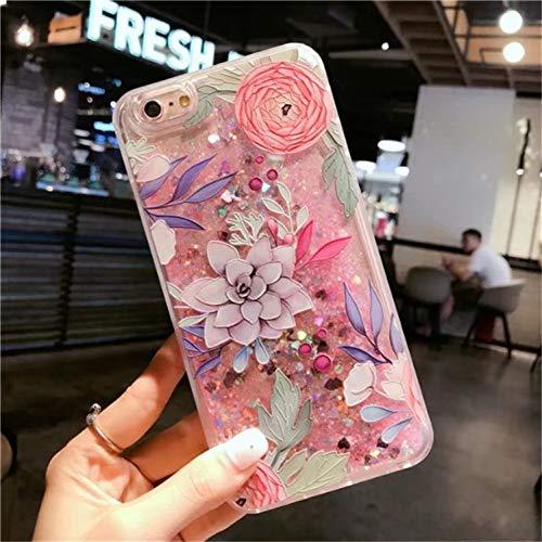 WZYSJK Glitter Flüssigkeit Treibsand Rosa Katze Blume Flamingo EIS Einhorn Parfüm Flasche Fall für iPhone XS MAX XR 6 6S 7 8 Plus Mädchen - Iphone 5s Parfüm-flasche Case