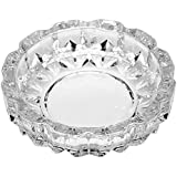 Chhabra Home Crystal Quality Glass Ash Tray | Round Tabletop | Glass Ashtray | Smoke Collectible Tribal Decoration- 11.9 Cm, 260 G (Small)