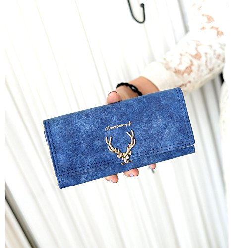 MOCA Long Wallet Clutch Purse Hand Purse For Women'S(Deep Blue)