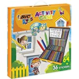 BIC Kids Activity Case 24 Matite per Colorare, 24 Pennarelli, 16 Pastelli a Cera e 36 Adesivi da Colorare