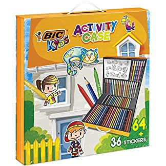 BIC Kids Activity Case – 24 Lápices de colores /24 rotuladores /16 Ceras y 36 Adhesivos para Colorear