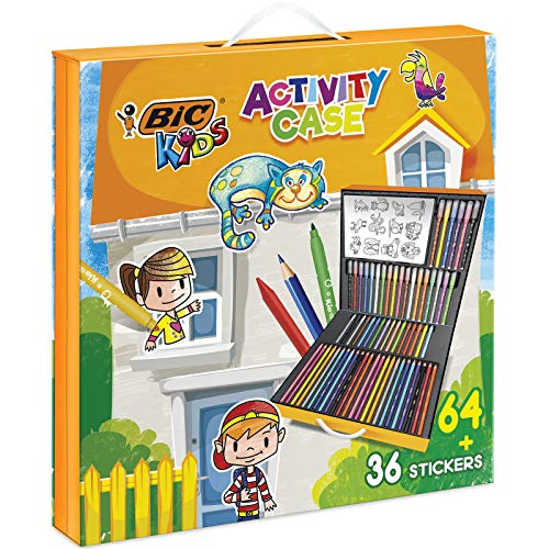 BIC Kids Activity Case - 24 Matite per Colorare/24 Pennarelli/16 Pastelli a Cera e 36 Adesivi da Colorare