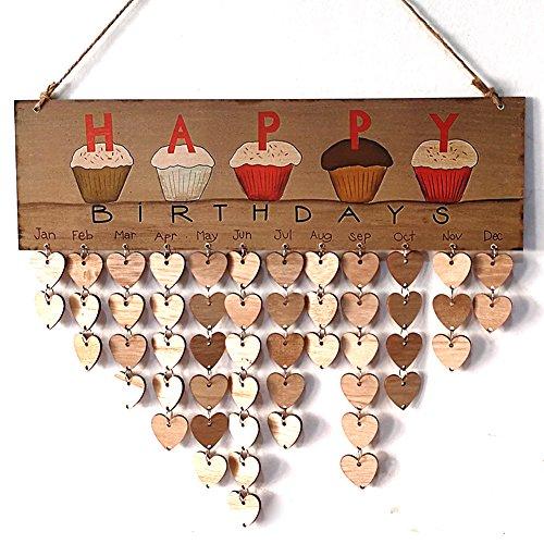 DIY Geburtstag Board, sundlight Familie und Freunde Geburtstag aus Holz zum Aufhängen Kalender Jahrestag Board DIY Schild Wunschdaten Planer Board zum Aufhängen Decor, 40x 12cm, holz, A