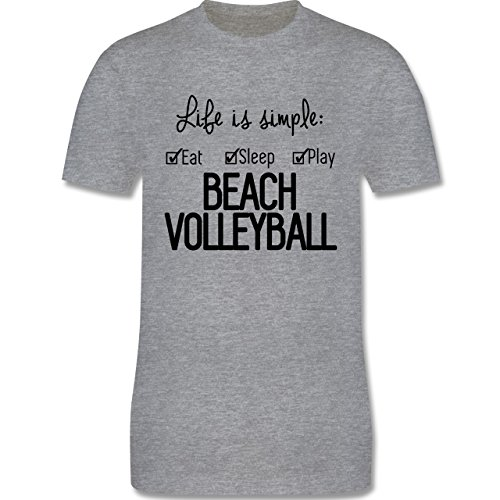 Volleyball - Life is simple Beachvolleyball - Herren Premium T-Shirt Grau Meliert