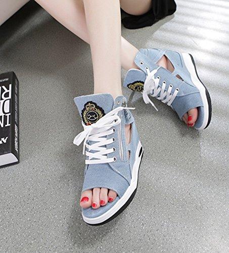 Senhoras Salto Do Wealsex Sandália Peep Verão Azul De Luz Sapatos Calçar Toe FF6wgx