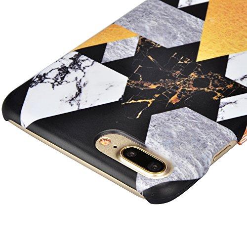 iPhone 7 Plus Hülle,iPhone 7 Plus Case,Sunroyal Cool Retro Gold Weiß Schwarz Marble Marmor Ultra Dünne Slim Hart PC Case Hülle Haut Zurück prägen Bunte Malerei Pattern Schutzhülle Cover Hart Rückseite Pattern 06