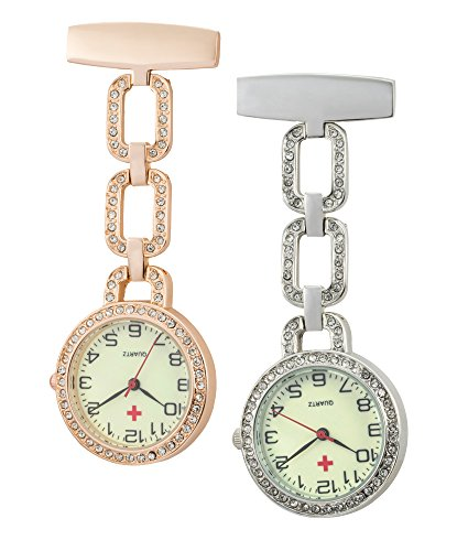 SEWOR Medical Staff Circle Band Hanging Pocket Watch 2pcs with Deep Blue Brand Leather Box Great Gift (Rose Gold Diamond)