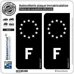 blasonimmat 2 Autocollants Plaque immatriculation Auto F France - Identifiant Européen Noir & Blanc