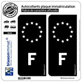 blasonimmat 2 Autocollants plaque immatriculation Auto F France - Identifiant Européen Noir & Blanc...