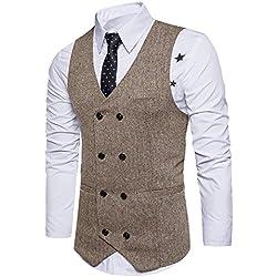STTLZMC Chalecos de Trabajo Hombre V-Cuello Traje de Boda Negocios Slim Fit Tweed a Cuadros Blazer,Caqui,Medium